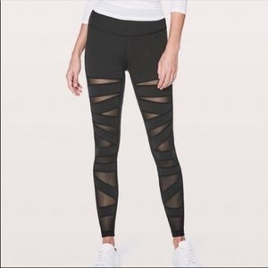 Lululemon Wunder Under Black Tech Mesh leggings